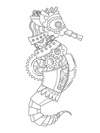 Steampunk style sea horse coloring book vector