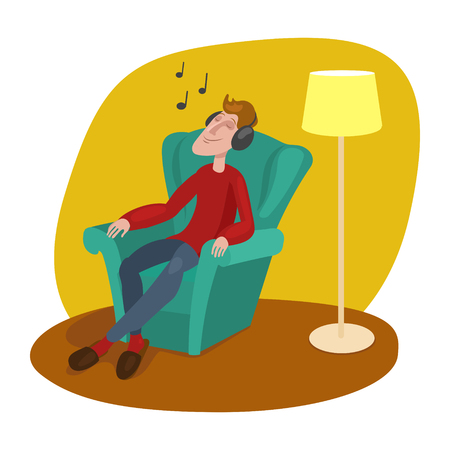 relaxed man: Relaxed man listening to music cartoon