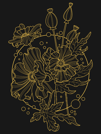 Poppy flowers color hand drawn vector illustration. Tattoo stencil. Lace pattern