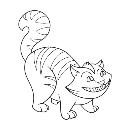 cheshire cat cheshire cat coloring book vector illustration