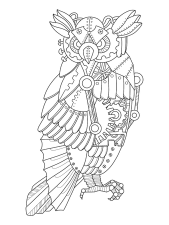 Steampunk Style Owl Coloring Book Vector Royalty Free Cliparts