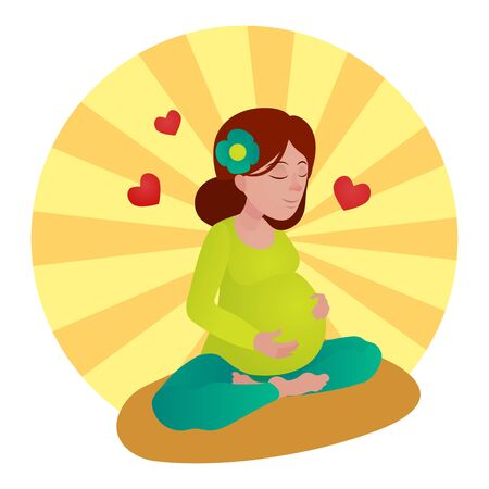 Pregnant girl meditation vector illustration Illustration