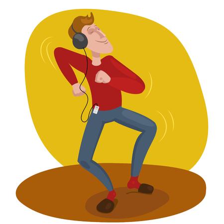 Man dansen in koptelefoon vector illustratie Stock Illustratie