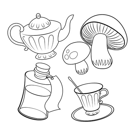 Objects from fairy tale coloring book vector Illustration