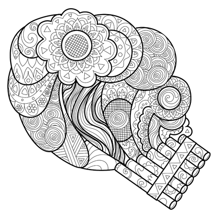 Panpipe coloring book vector illustration. Black and white lines. Lace pattern