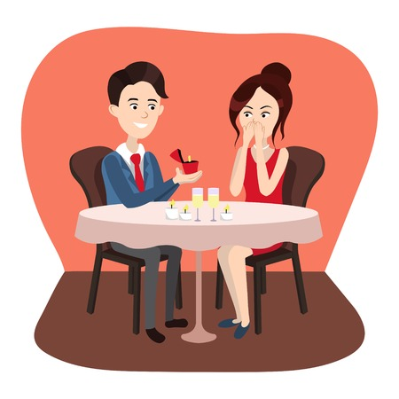 enamored: Guy makes a proposal to girl vector illustration
