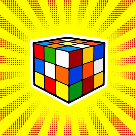 Rubik Cube comic book style vector