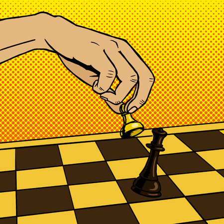 Hand playing chess pop art vector illustration Illustration
