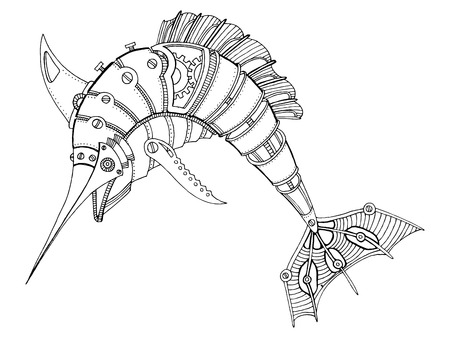 Steampunk style swordfish. Mechanical animal. Coloring book vector illustration. Stock Illustratie