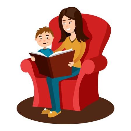 Madre, leggere, libro, bambino, cartone animato, vettore Vettoriali