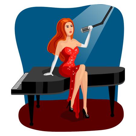Jazz singer woman on grand piano cartoon vector Illustration