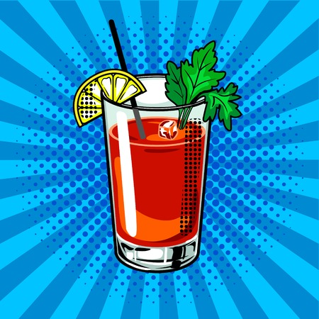 Bloody mary cocktail pop art vector illustration Illustration