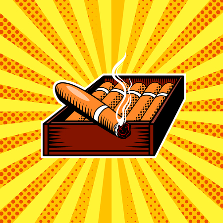 Cigar box pop art vector illustration Ilustracja