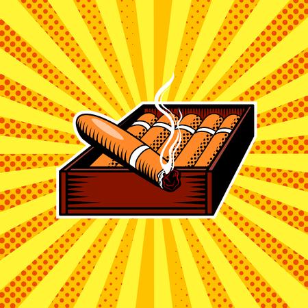 Illustration vectorielle de boîte à cigares pop art