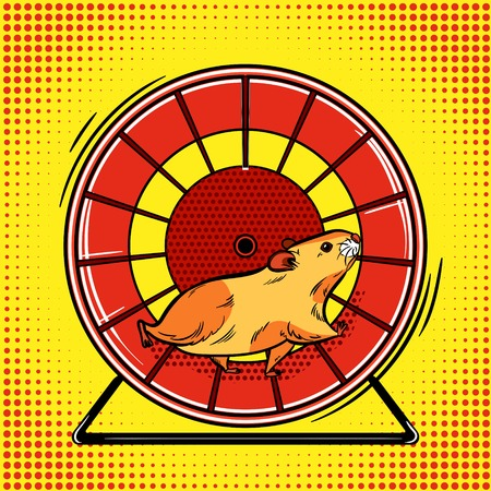 Hamster in the wheel pop art vector illustration