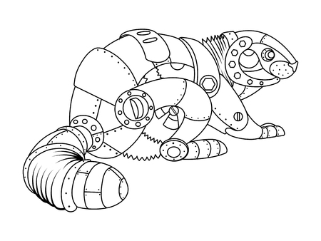 Steam punk style beaver coloring book vector