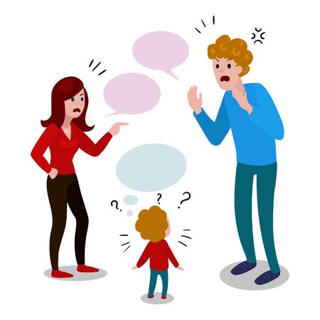 Les parents se disputent avec le vecteur de dessin animé enfant Banque d'images - 73860194