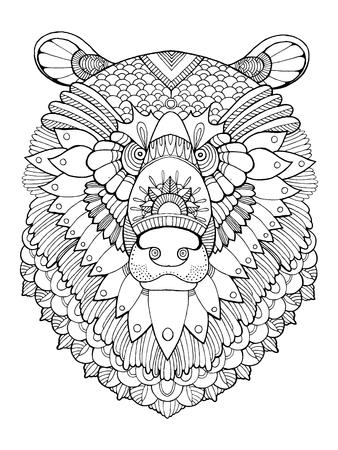Cabeza De Búfalo Para Colorear Ilustración Vectorial Ilustraciones ...