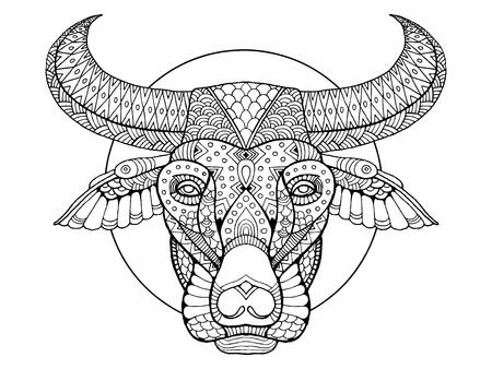 Buffalo hoofd kleur boek vector illustratie Stock Illustratie