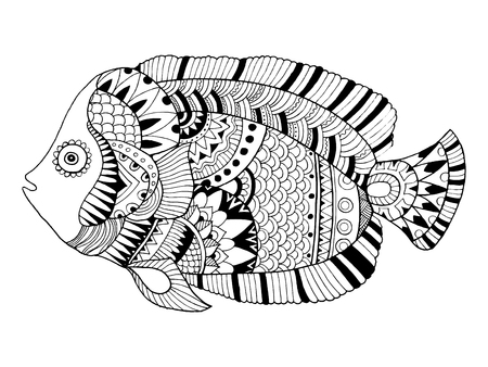 Angel Fish Coloring Book Vector Illustration