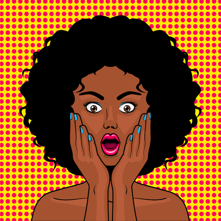 Surprised woman pop art style vector illustration