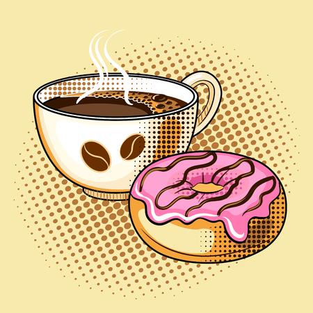 Illustration vectorielle de café et beignet pop art