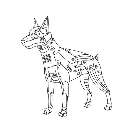 Steam Punk Estilo Caballo Animal Mecánico Ilustración De Vector De ...