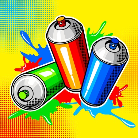 paint can: Colorful paint cans comic book style vector