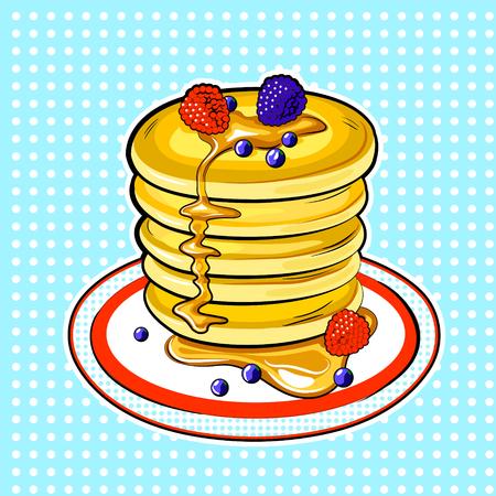 Pancakes pop art vector illustration