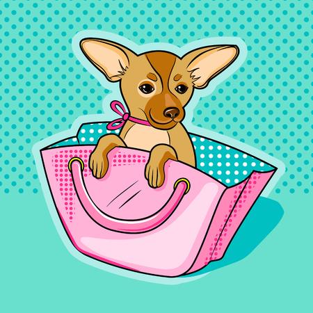 Chihuahua dog in pink woman handbag vector