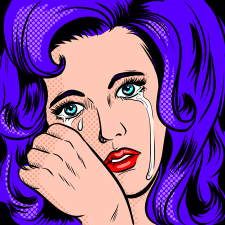 Sad girl crying pop art style raster illustration