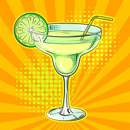 Vettore di pop art del cocktail dell'alcool del liquore