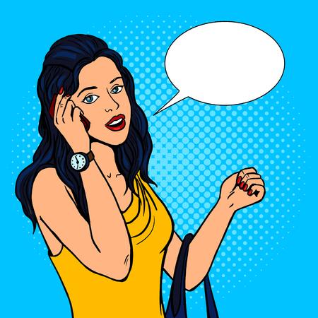 Girl talking phone pop art retro vector illustration. Comic book style imitation. Ilustrace