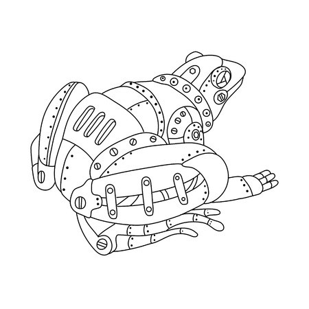 Steam punk style frog. Mechanical animal. Coloring book vector illustration.
