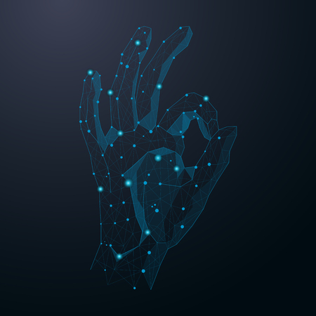 Hand show okay sign abstract cosmic vector Illustration