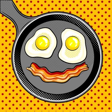 Fried eggs bacon looks like smile pop art vector