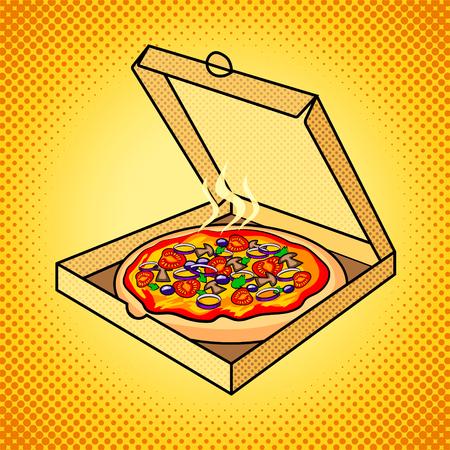 Pizza fraîche dans la boîte pop art illustration vectorielle Banque d'images - 75203438
