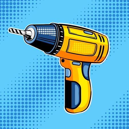 Screw gun comic book style vector illustration