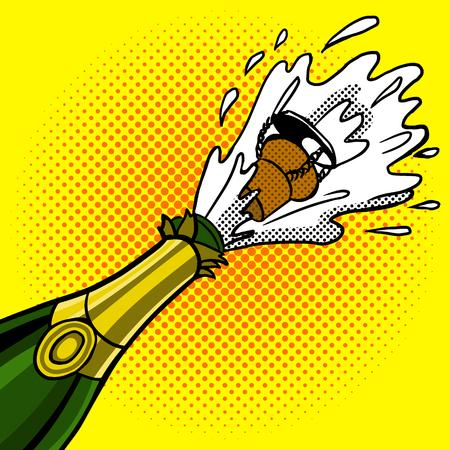 uncork: Cork flies out of a bottle of champagne pop art