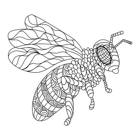 Biene Färbung Buch Vektor-Illustration Standard-Bild - 75639769
