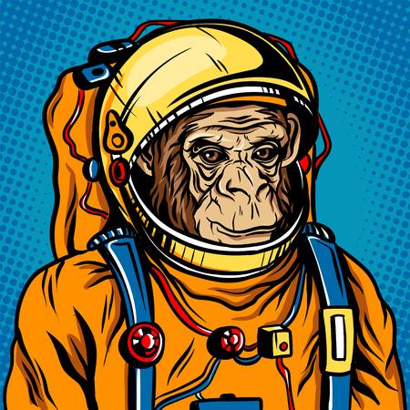 공간 소송에서 복고풍 벡터 일러스트 레이 션 우주 비행사 원숭이. 만화 스타일의 모방입니다.