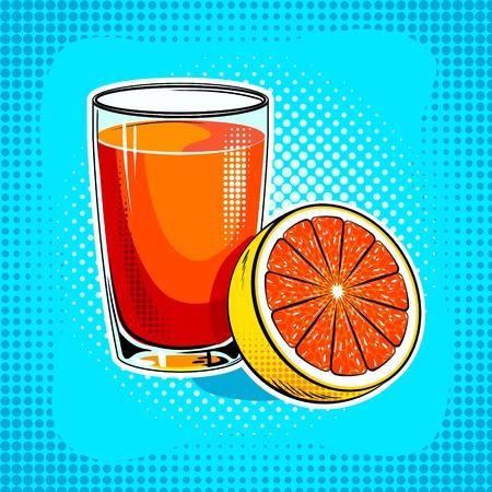 Fresh juice with orange pop art hand drawn vector illustration.