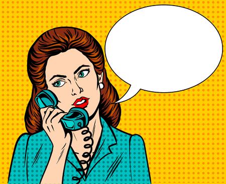 Vrouw met telefoon popart retro vectorillustratie. Imitatie in stripboekstijl.