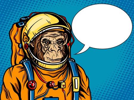 Astronaut monkey space suit pop art style vector
