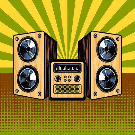 Loudspeaker enclosure comic book style vector Illustration