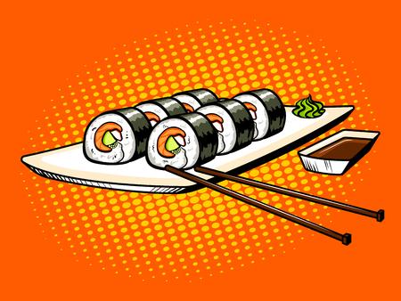 Japanese food rolls pop art vector illustration