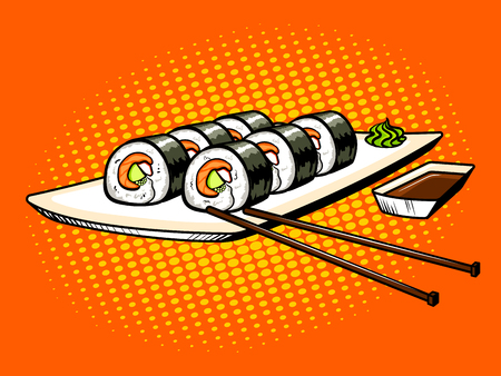 Japanese food rolls pop art vector illustration