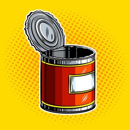 開いている空缶ポップアート ベクトル図