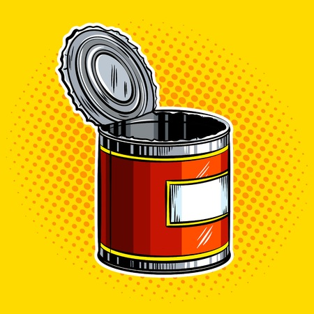 Open tincan pop art vector illustratie Stock Illustratie