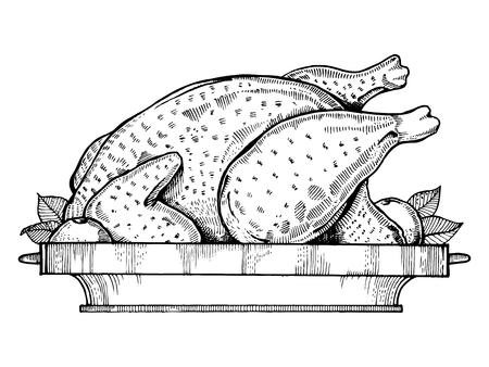 monochromic: Fried chicken engraving style vector illustration